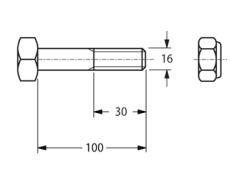 BULLONE 16X100 CON DADO AUTOBLOCCANTE IN 10.9 PER MAZZE TRINCIASARMENTI